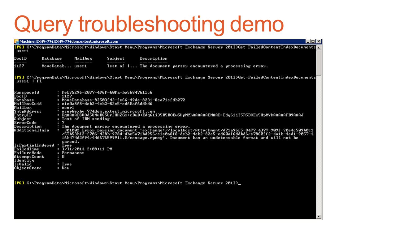 Query troubleshooting demo