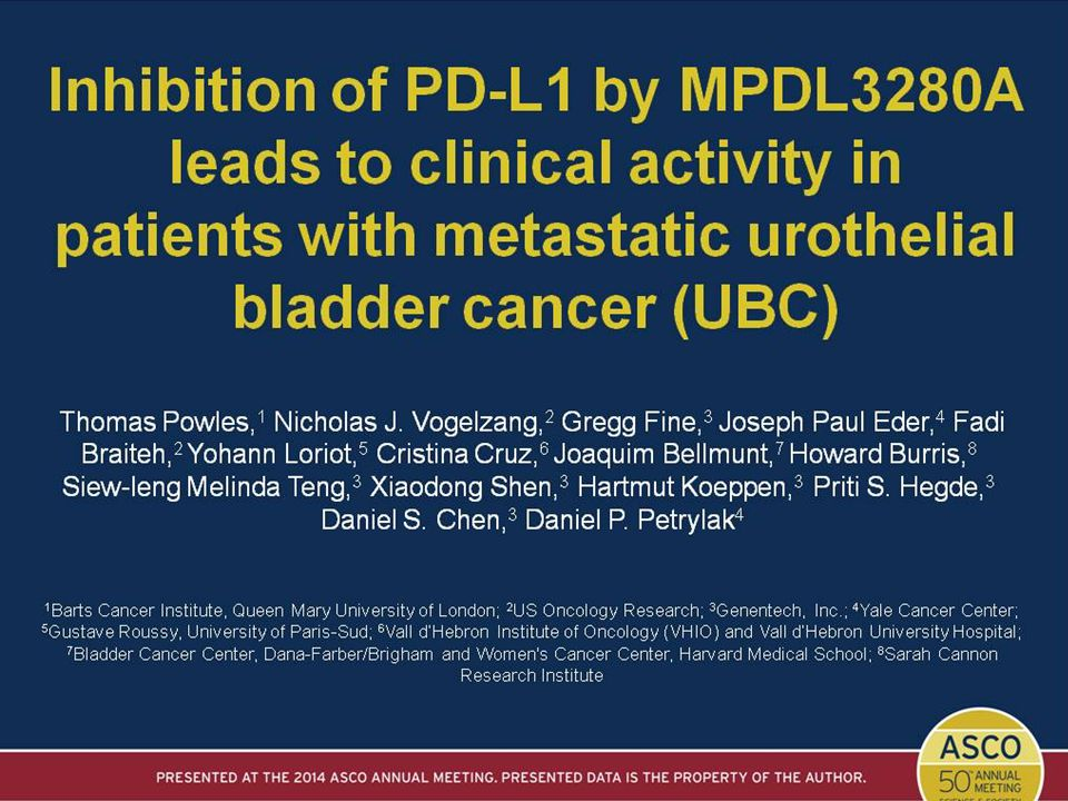 Inhibition of PD-L1 by MPDL3280A<br />leads to clinical activity in<br />patients with metastatic urothelial bladder cancer (UBC)