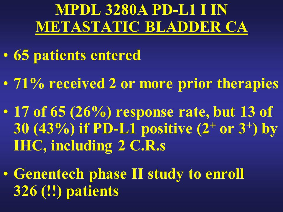 MPDL 3280A PD-L1 I IN METASTATIC BLADDER CA