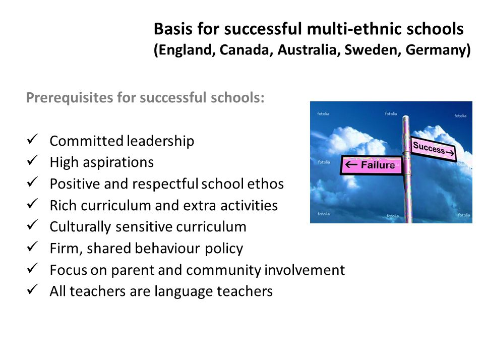 Basis for successful multi-ethnic schools (England, Canada, Australia, Sweden, Germany)