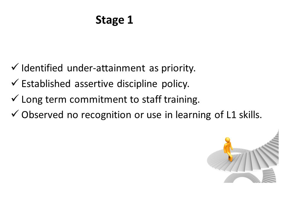 Stage 1 Identified under-attainment as priority.