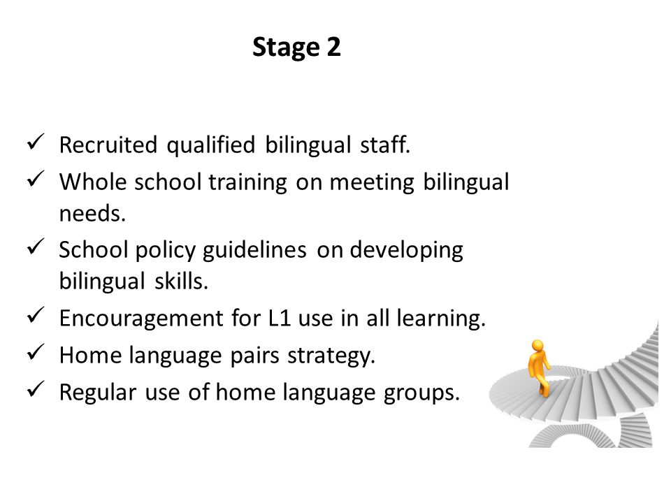 Stage 2 Recruited qualified bilingual staff.