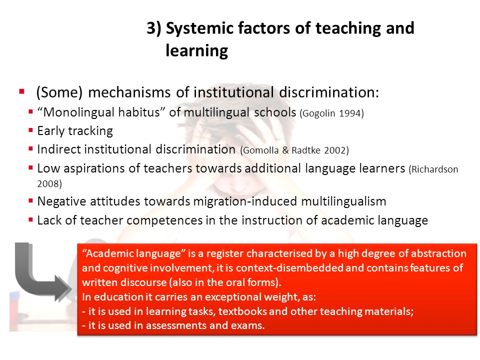 3) Systemic factors of teaching and learning