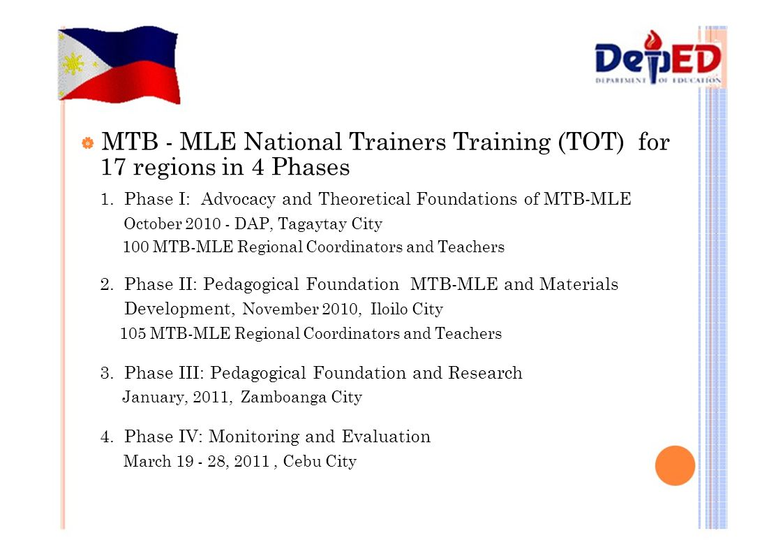 | MTB - MLE National Trainers Training (TOT) for