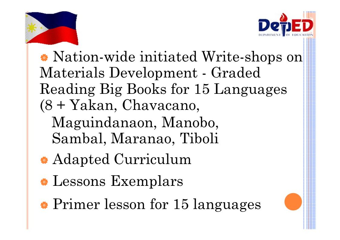 Maguindanaon, Manobo, Sambal, Maranao, Tiboli