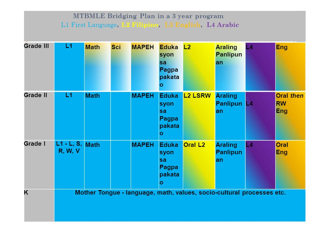 MTBMLE Bridging Plan in a 3 year program