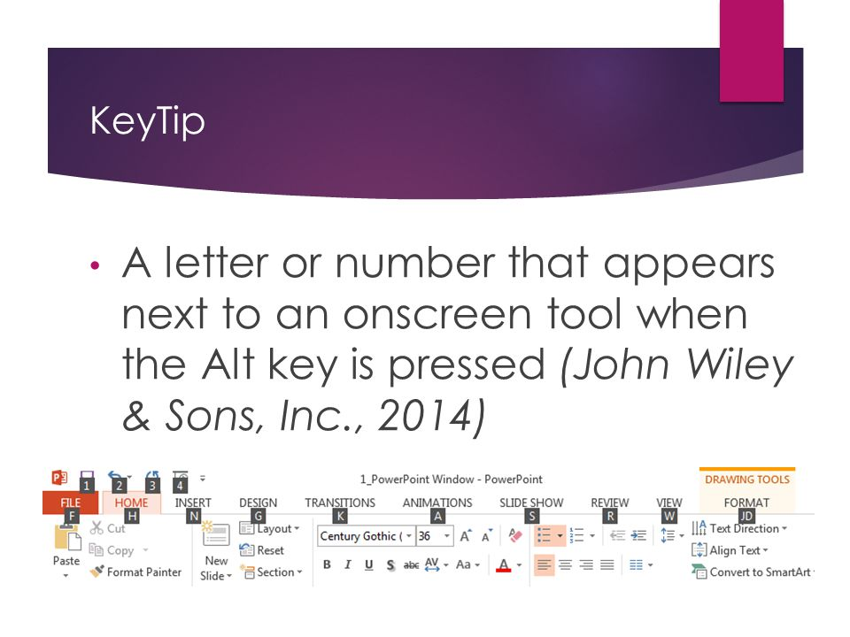 KeyTip A letter or number that appears next to an onscreen tool when the Alt key is pressed (John Wiley & Sons, Inc., 2014)