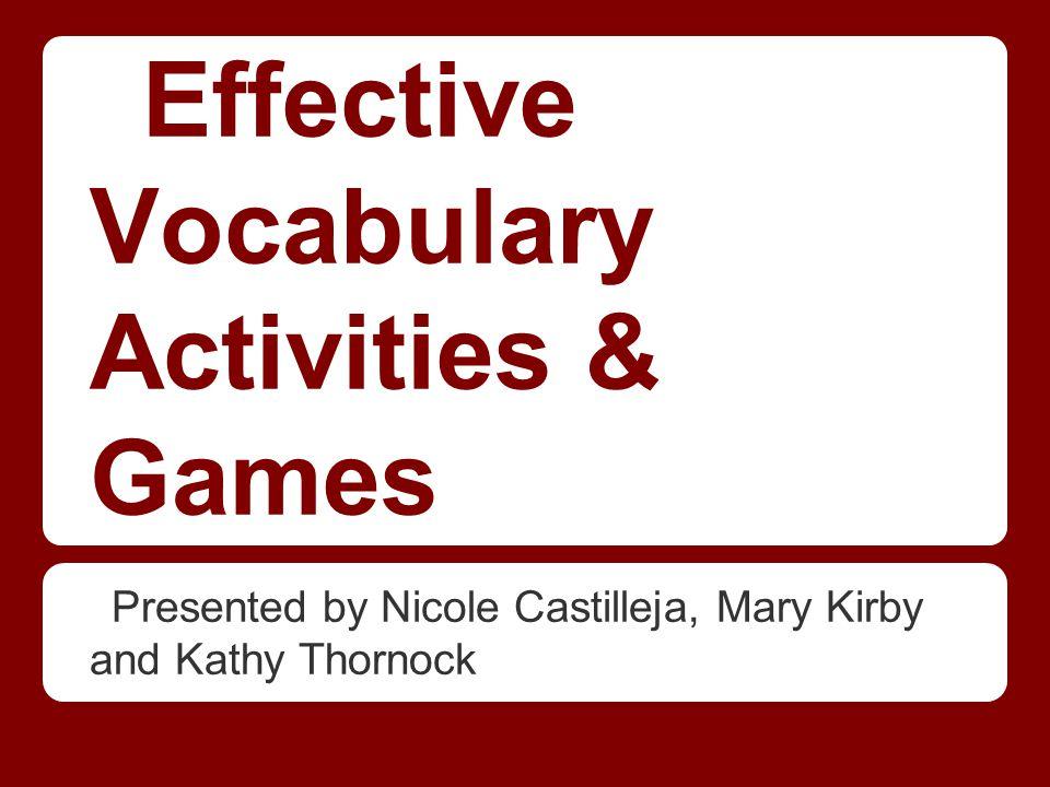 Effective Vocabulary Activities & Games