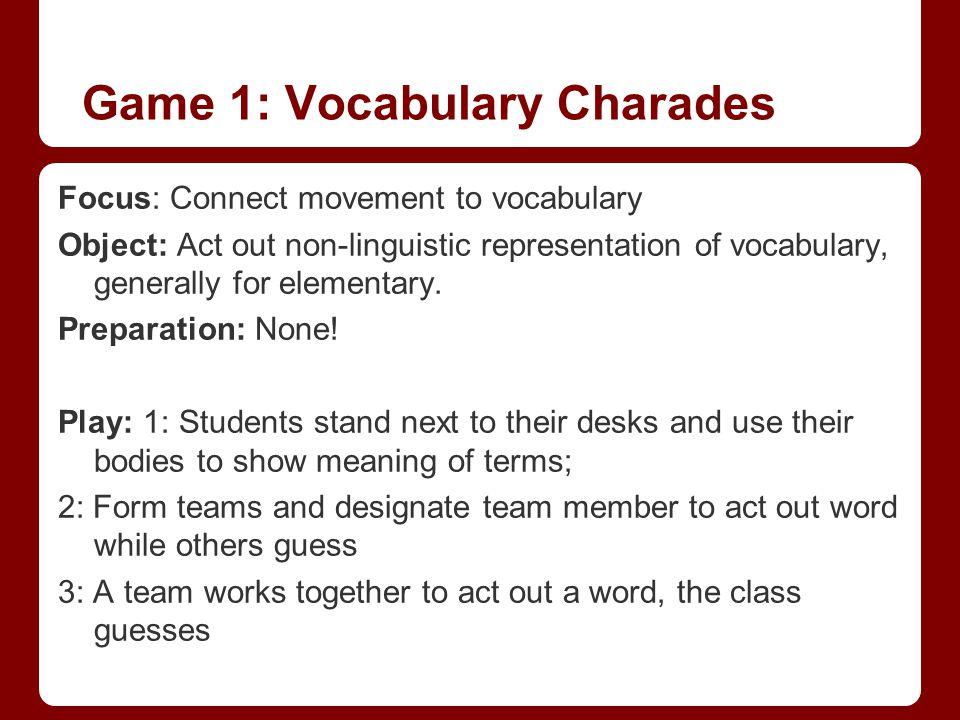 Game 1: Vocabulary Charades