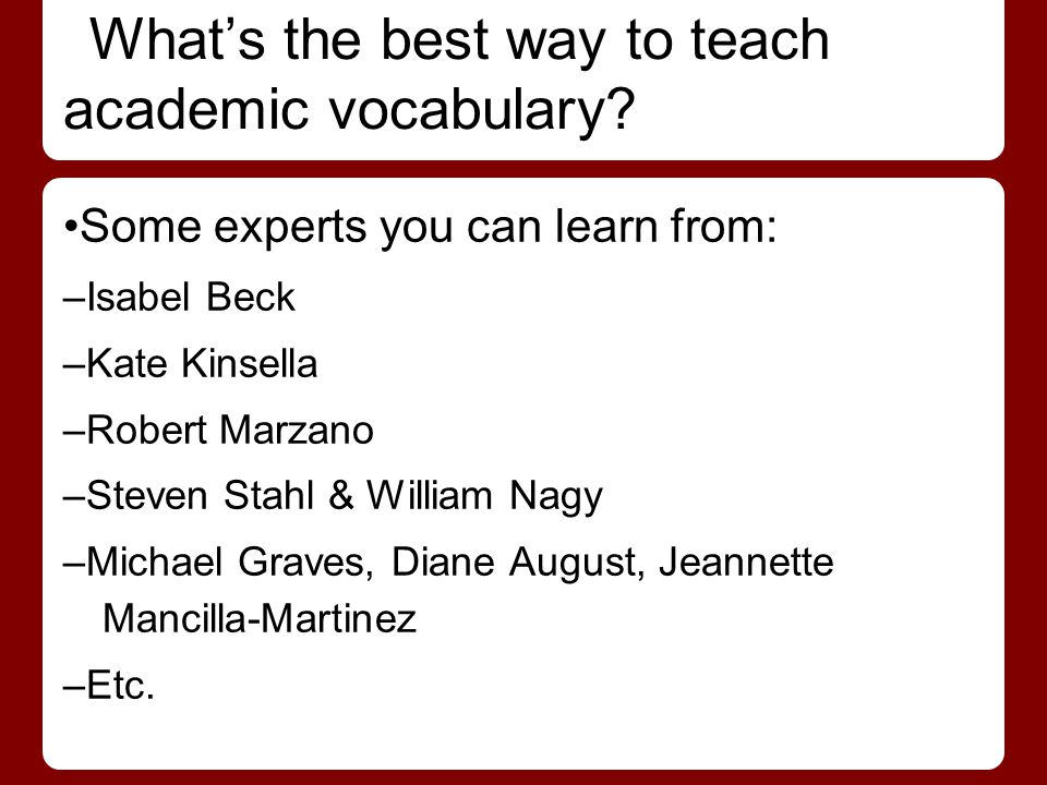 What's the best way to teach academic vocabulary
