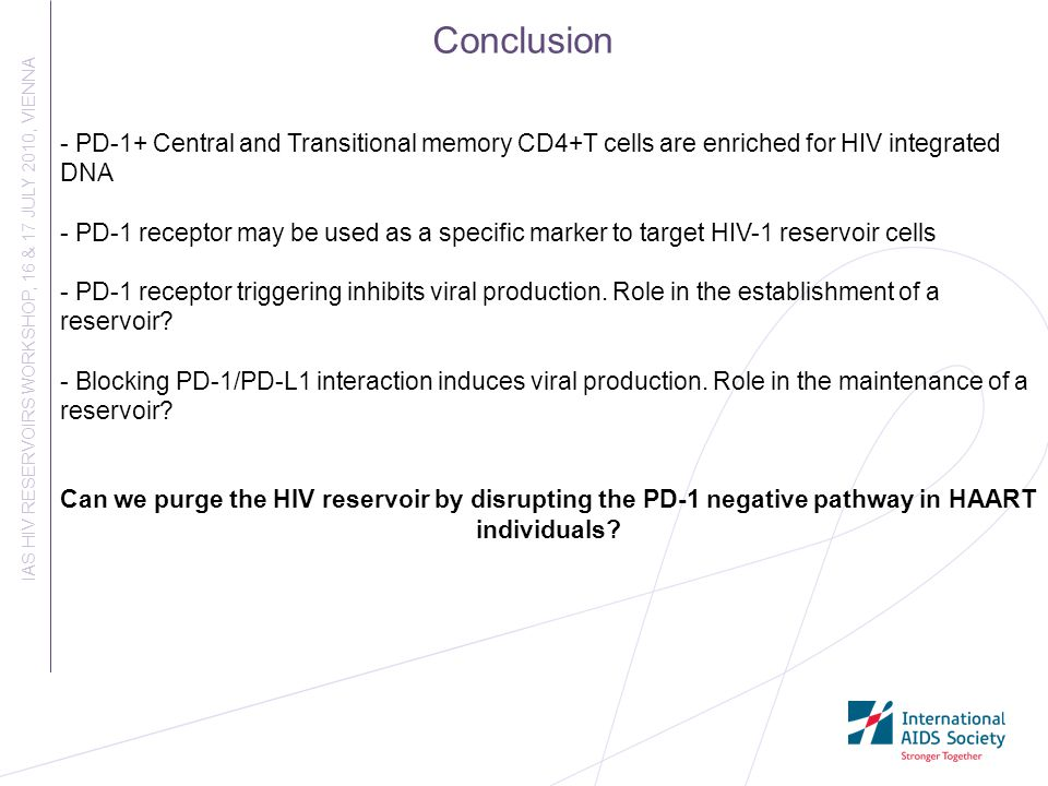 Conclusion - PD-1+ Central and Transitional memory CD4+T cells are enriched for HIV integrated DNA.