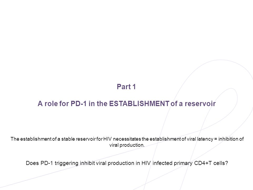 A role for PD-1 in the ESTABLISHMENT of a reservoir