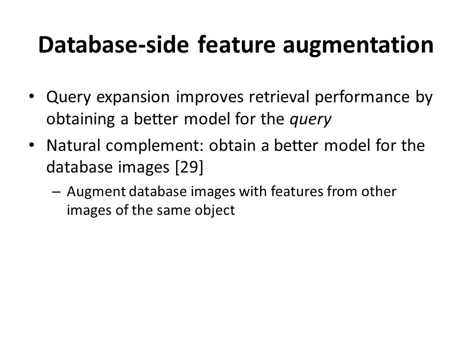 Database-side feature augmentation