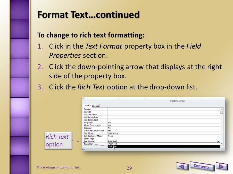 Format Text…continued