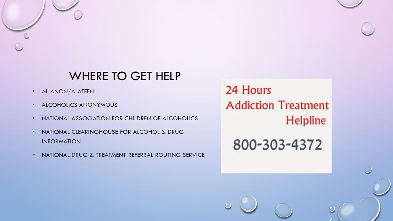 Where to get help Al-anon/alateen Alcoholics anonymous