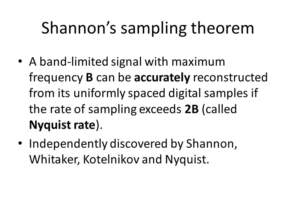 Shannon's sampling theorem