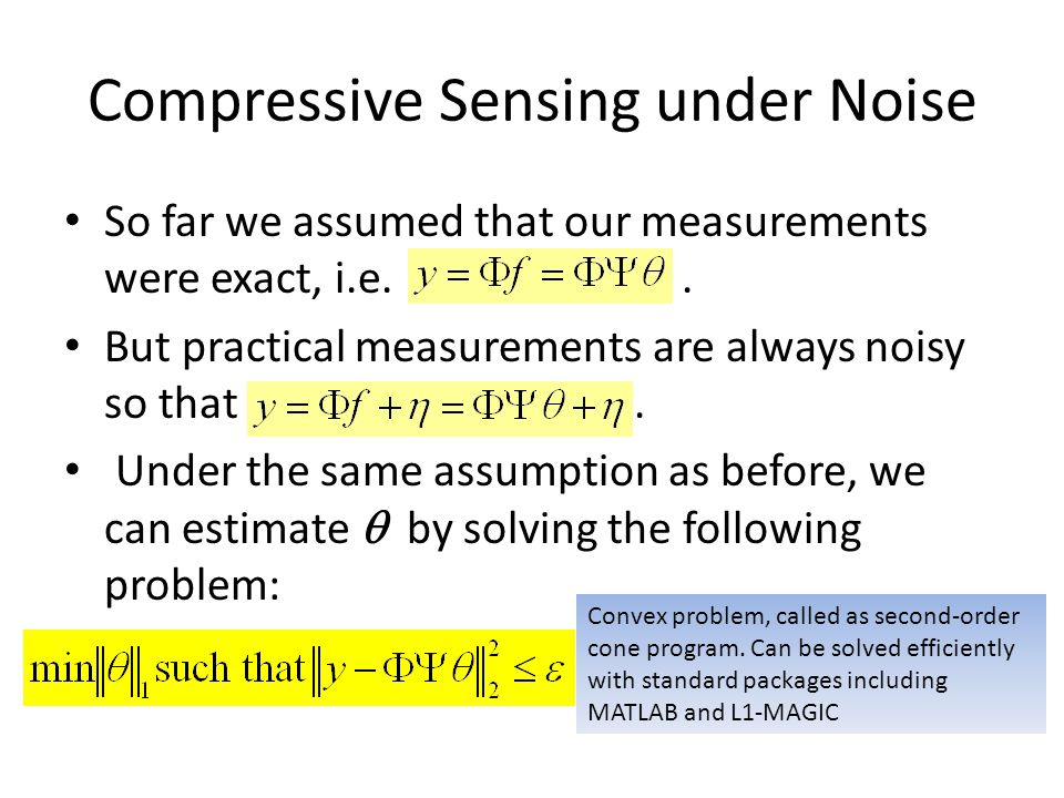 Compressive Sensing under Noise
