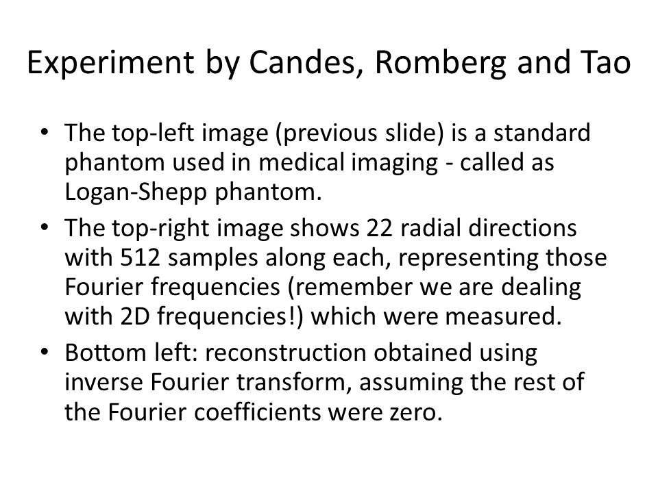 Experiment by Candes, Romberg and Tao