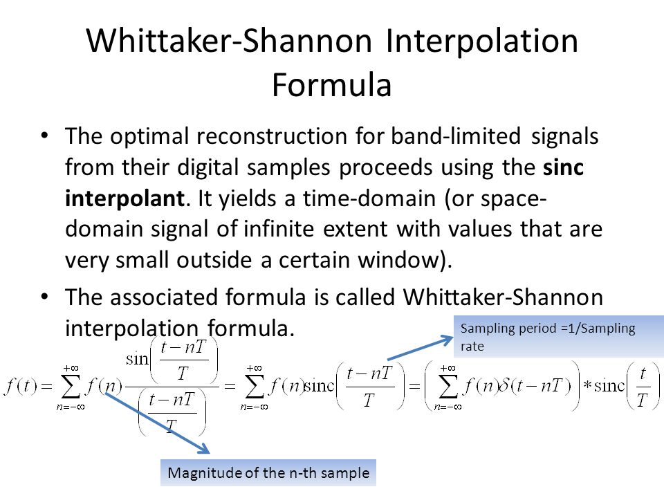 Whittaker-Shannon Interpolation Formula