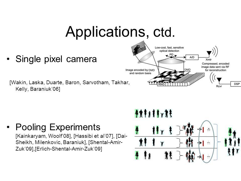 Applications, ctd. Single pixel camera