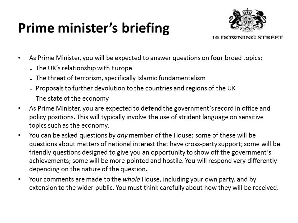Prime minister's briefing