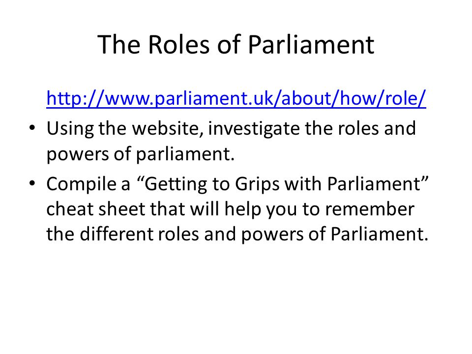 The Roles of Parliament
