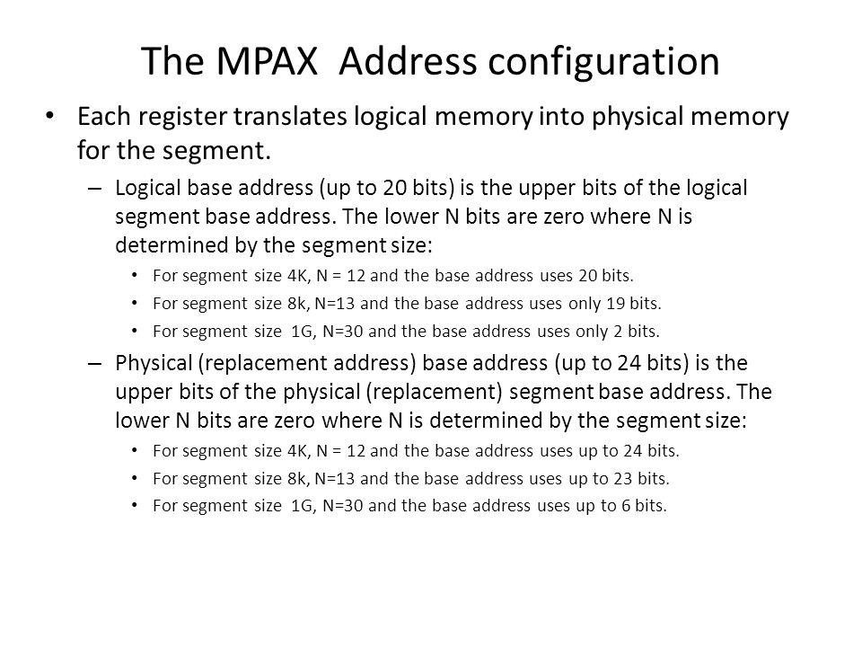 The MPAX Address configuration
