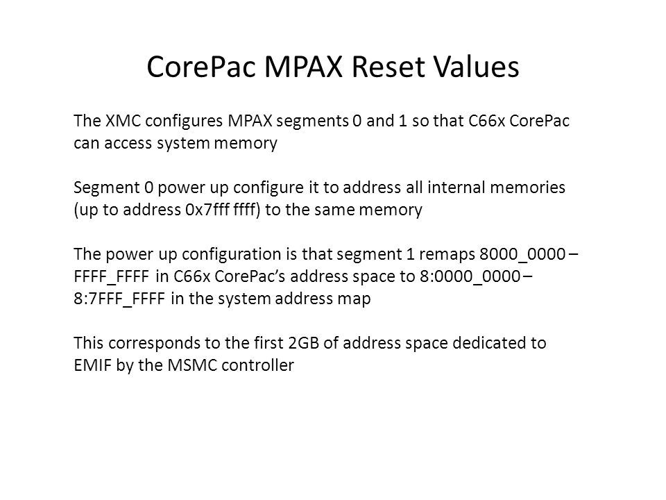 CorePac MPAX Reset Values