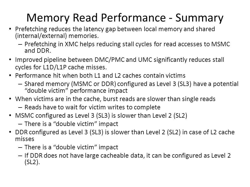 Memory Read Performance - Summary