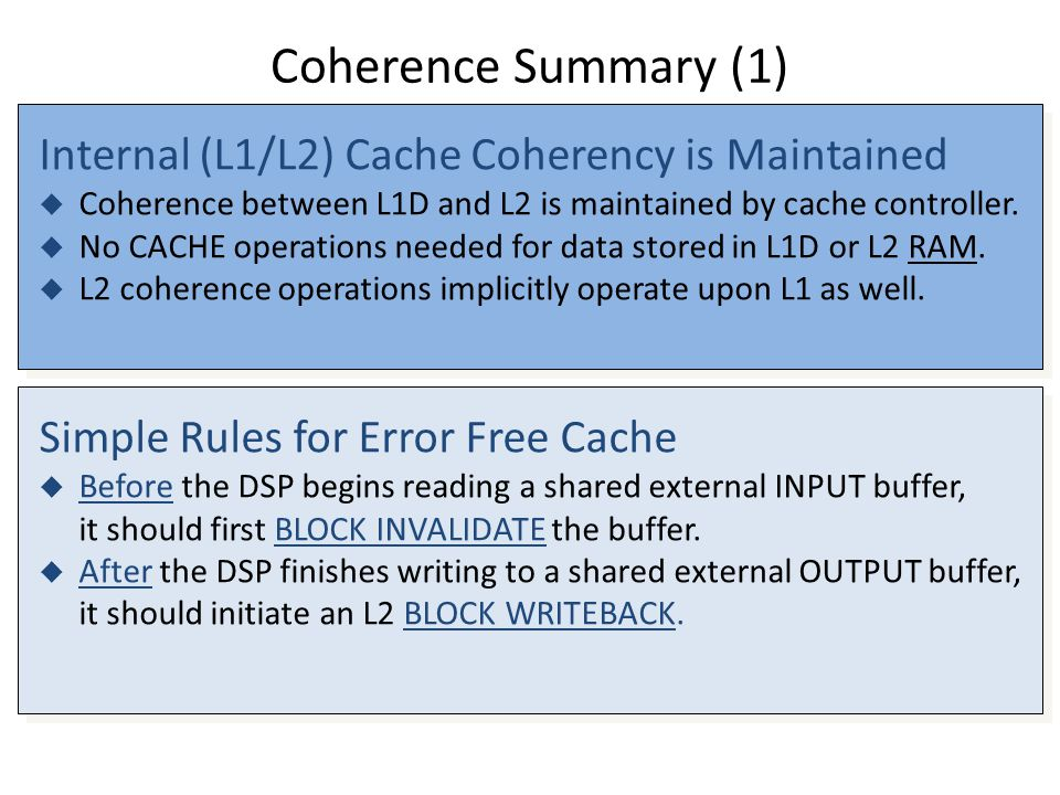 Coherence Summary (1) Internal (L1/L2) Cache Coherency is Maintained