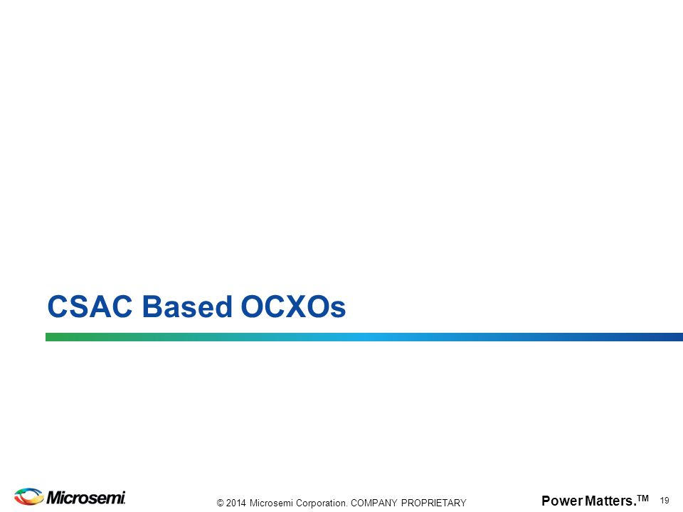 CSAC Based OCXOs