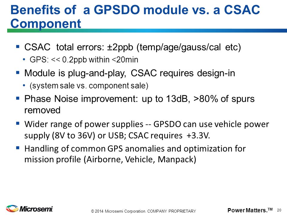 Benefits of a GPSDO module vs. a CSAC Component