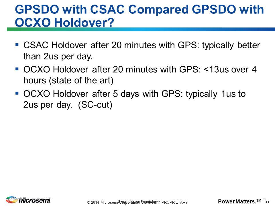 GPSDO with CSAC Compared GPSDO with OCXO Holdover