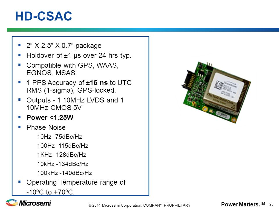 HD-CSAC 2 X 2.5 X 0.7 package Holdover of ±1 µs over 24-hrs typ.