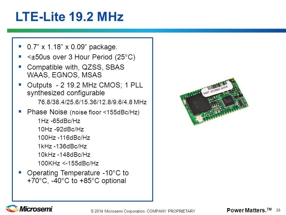 LTE-Lite 19.2 MHz 0.7 x 1.18 x 0.09 package.