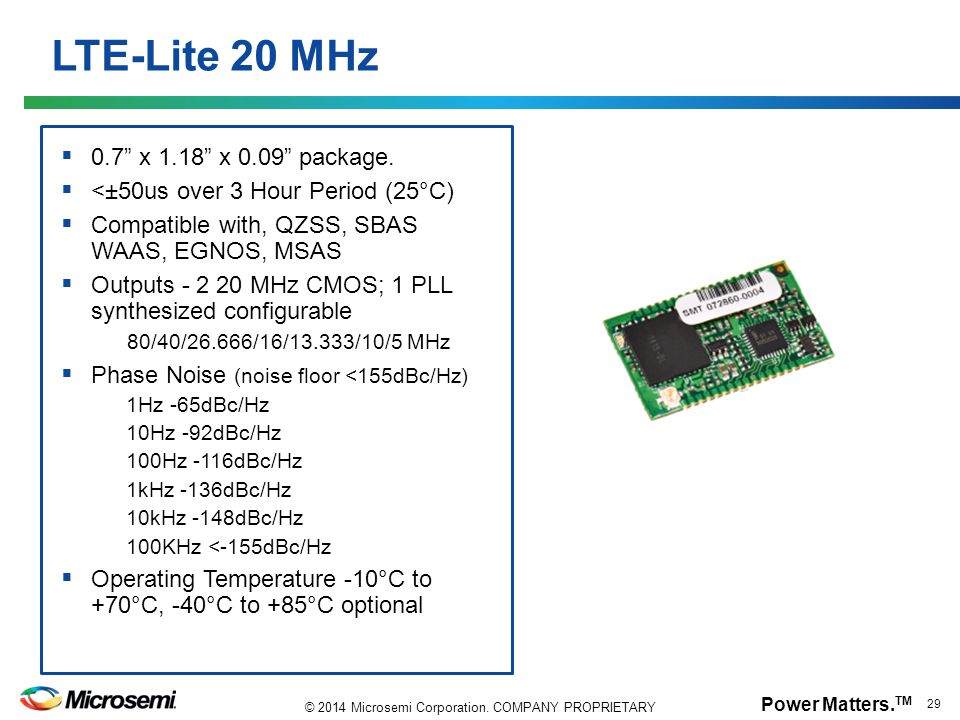 LTE-Lite 20 MHz 0.7 x 1.18 x 0.09 package.