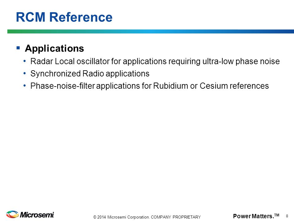 RCM Reference Applications