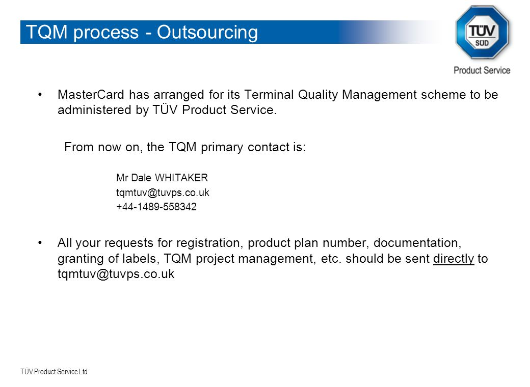TQM process - Outsourcing
