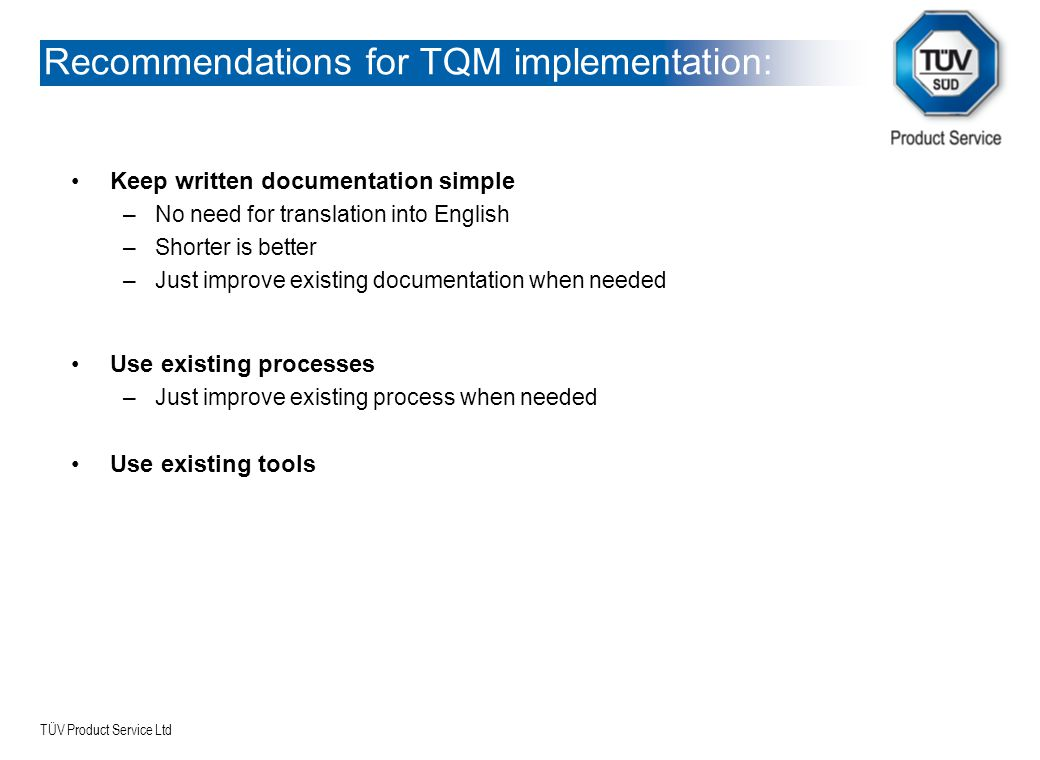 Recommendations for TQM implementation: