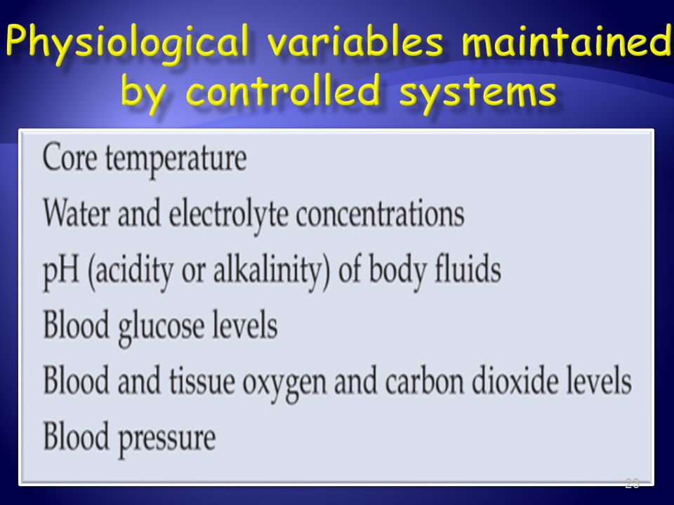 Physiological variables maintained by controlled systems