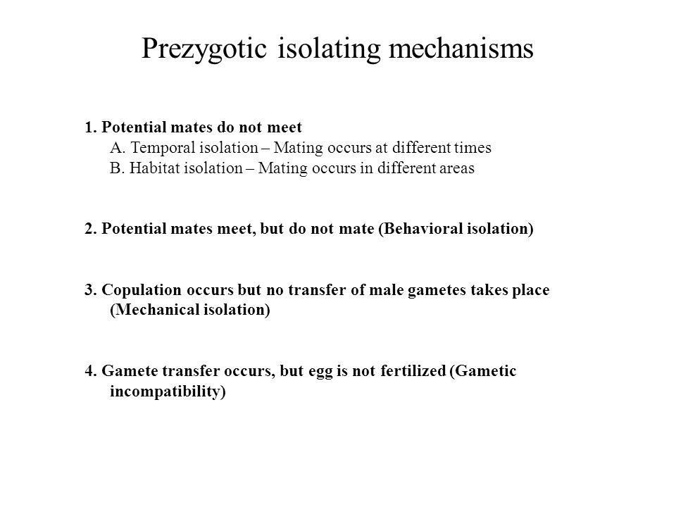 Prezygotic isolating mechanisms