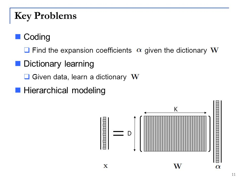 Key Problems Coding Dictionary learning Hierarchical modeling