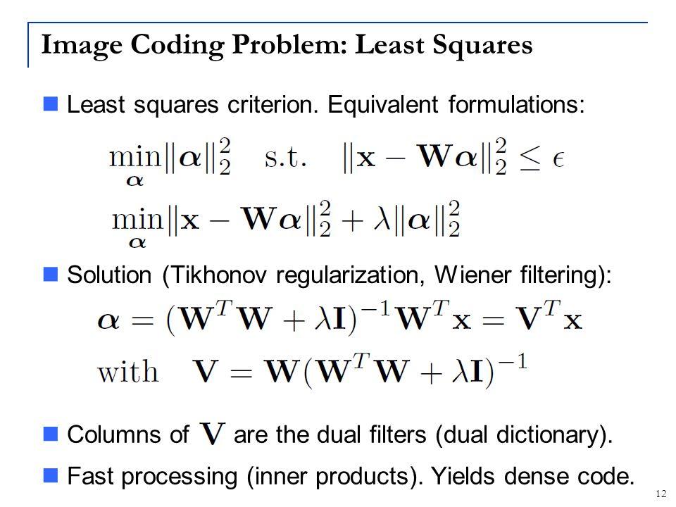 Image Coding Problem: Least Squares