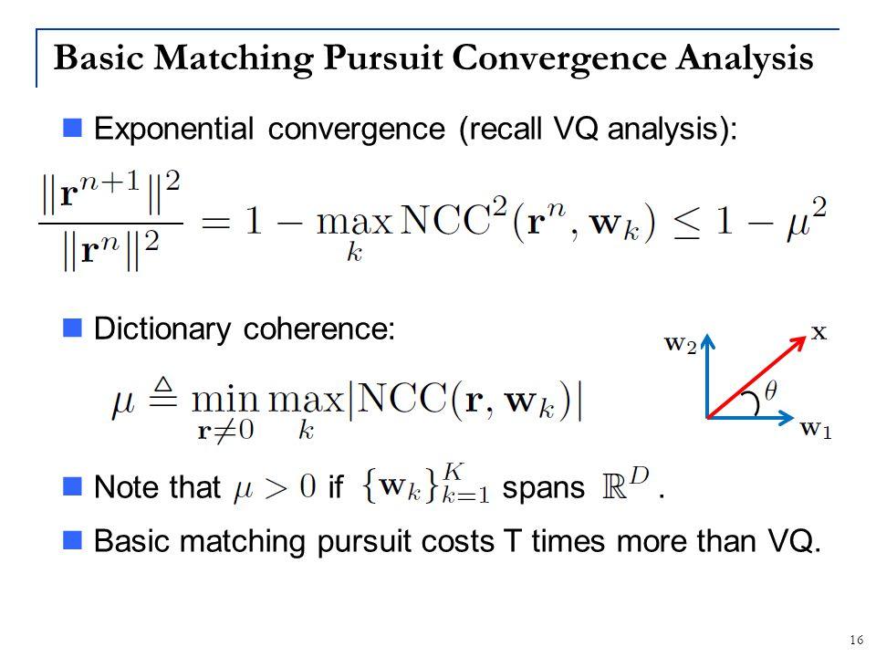 Basic Matching Pursuit Convergence Analysis