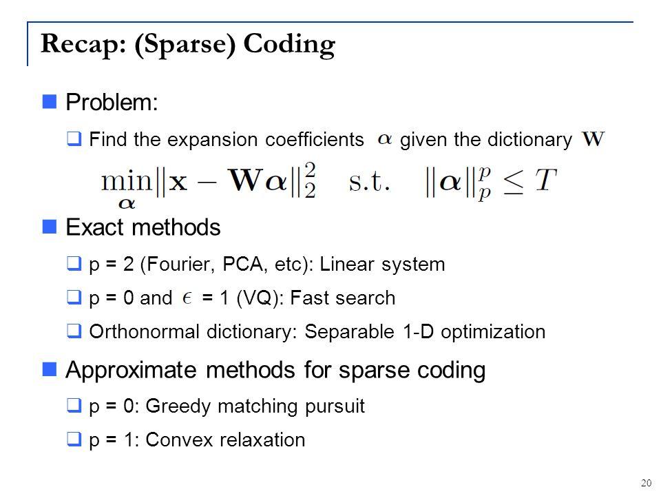 Recap: (Sparse) Coding