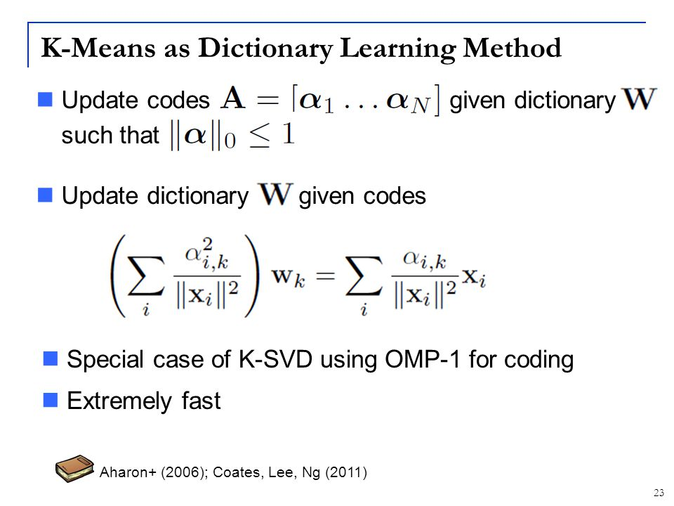 K-Means as Dictionary Learning Method