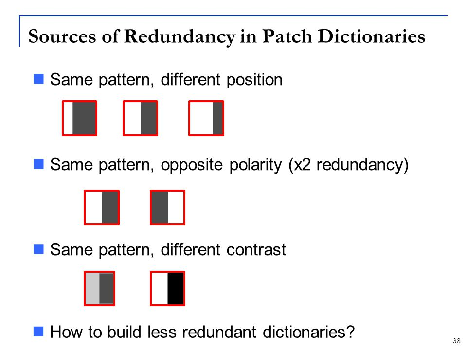 Sources of Redundancy in Patch Dictionaries