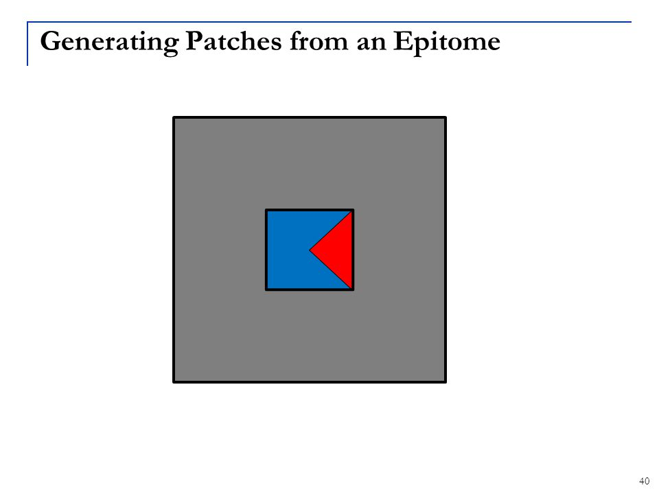 Generating Patches from an Epitome