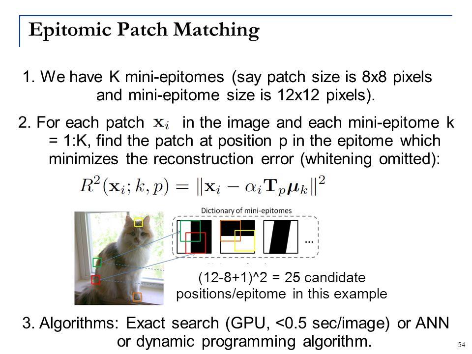 Epitomic Patch Matching