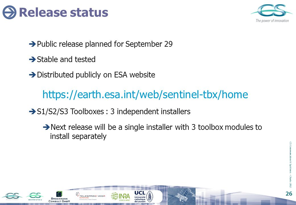 Release status https://earth.esa.int/web/sentinel-tbx/home